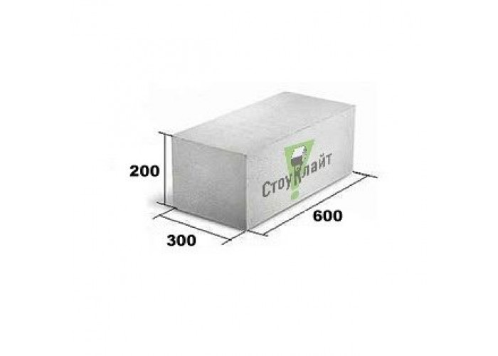 Газобетон Стоунлайт 300x200x600 мм D 500 гладкий